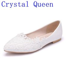 Crystal Queen Ballet Flats White Lace Wedding Shoes Flat Heel Casual Shoes Pointed Toe Women Wedding Princess Flats Plus Size 42