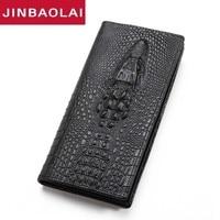 Men Wallets Luxury Brand Wallets Designer Purse Genuine Leather 3D Alligator Zipper Coin Purse Male Long Clutch Bag Carteira New