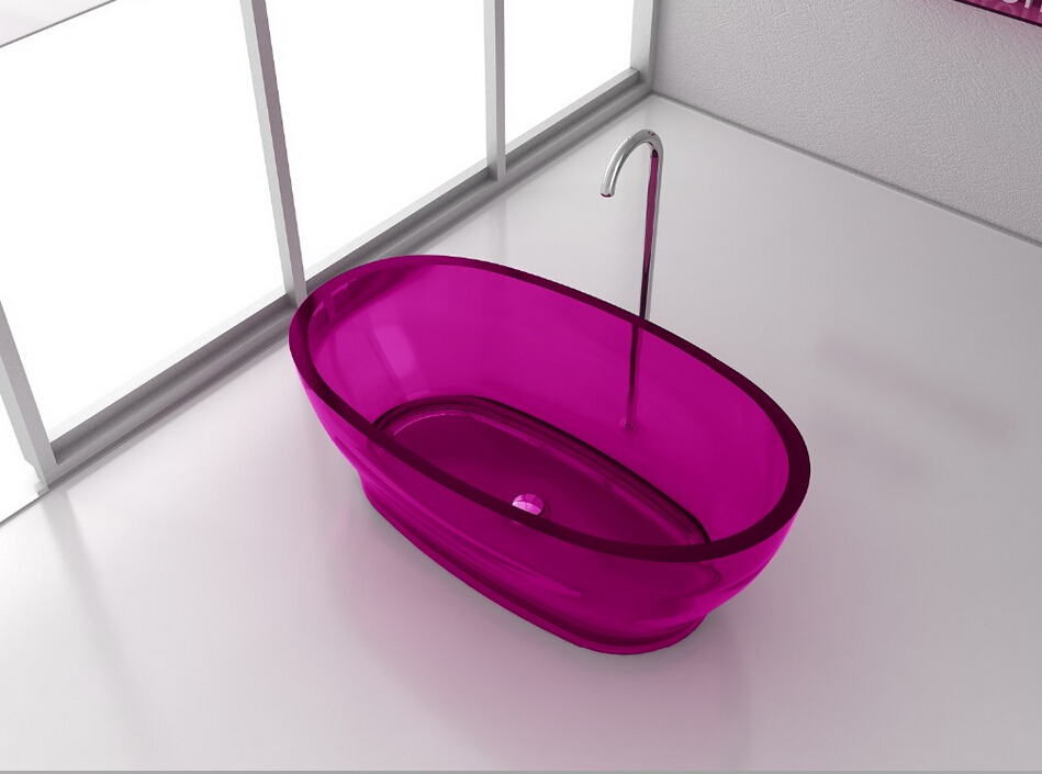 1600x850x580mm Resin Acrylic CUPC Approval Colored Bathtub Oval Freestanding Solid surface stone Tub RS65105-C