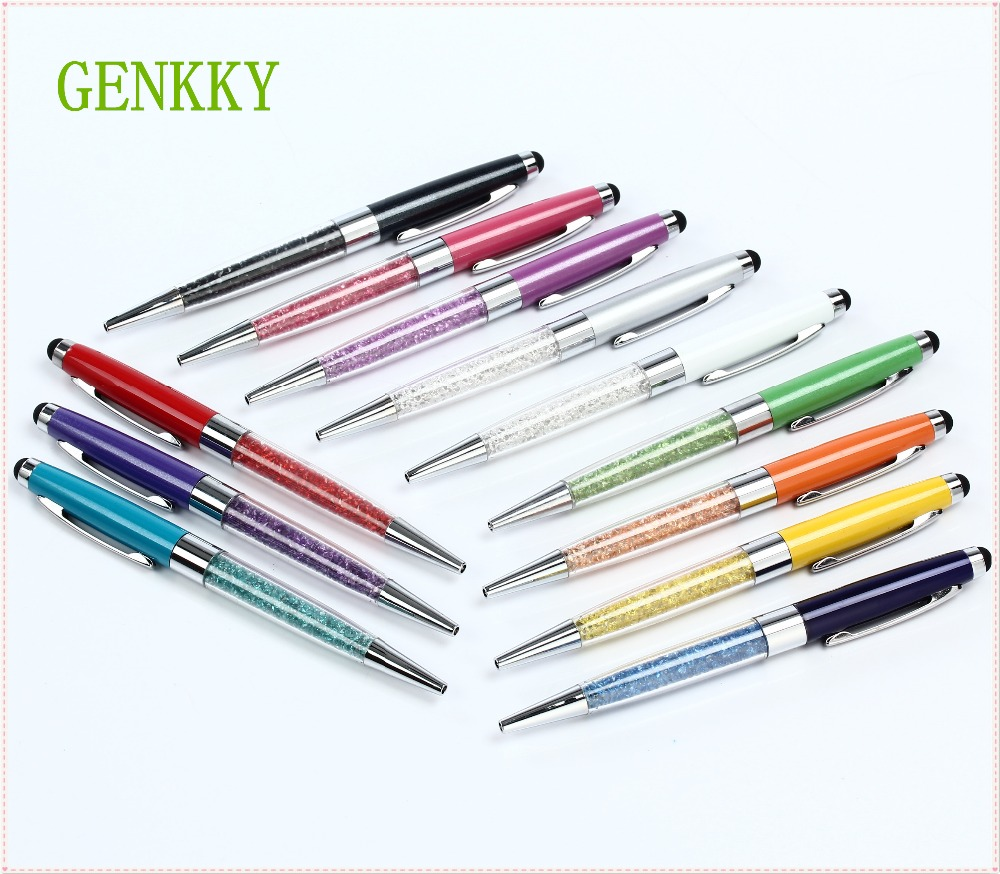 Новое Прибытие 2 в 1 Творческая Кристалл Ручка С Бриллиантами Шариковые Ручки канцелярские Шариковая Ручка Стилус Стилус 12 Цветов Жирной Пополнения 0.7