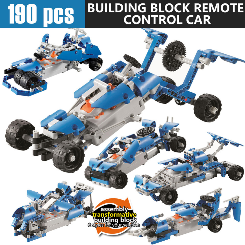 Remote Control Model Car, 190pcs Building Blocks RC Cars 2CH 2.4GHz Vehicle DIY Toy DIY Block High Speed Educational Toy for Kid