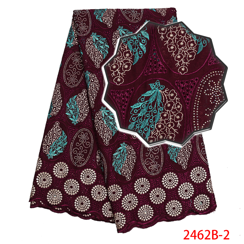 2019 Latest African Lace Fabric,High Quality Swiss Cotton Voile Lace, Swiss Voile Lace In Switzerland With Stones KS2462B-2