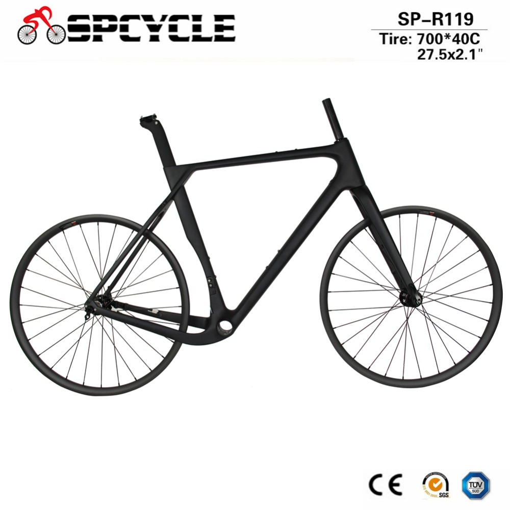 Spcycle Full Carbon Road Cyclocross Gravel Bike Frameset & 27.5er MTB Wheelset Novatec D791SB/792SB Hubs 142*12mm Thru Axle