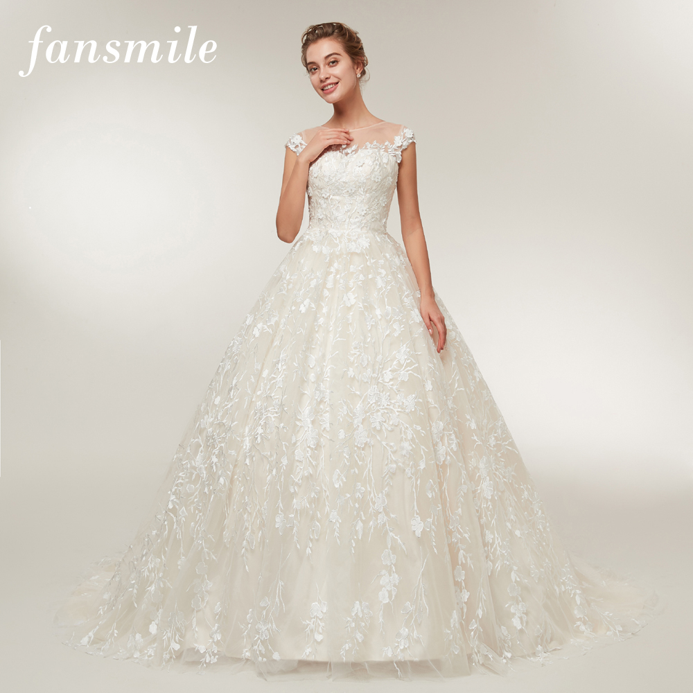 Fansmile New Arrival Vingtage Tail Lace Wedding Dresses 2020 Vestido De Noiva Custom-made Plus Size Wedding Gowns Tulle FSM-393T