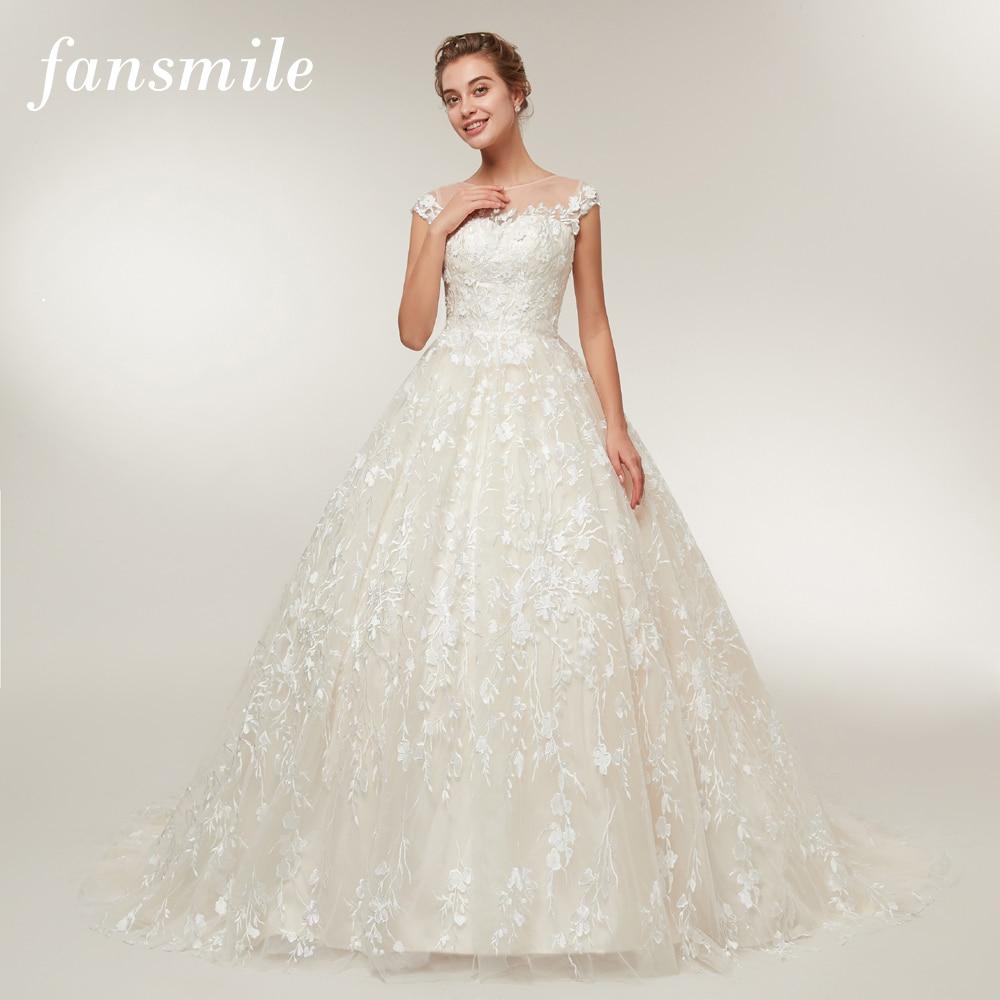 Fansmile New Arrival Vingtage Tail Lace Wedding Dresses 2020 Vestido De Noiva Custom-made Plus Size Wedding Gowns Tulle FSM-393T