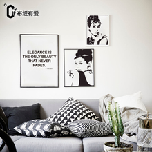 Elegance Black and white quote prints motivational poster Audrey Hepburn wall pictures for living room No Frame