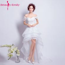 Beauty Emily Luxury Tiered White Asymmetrical Wedding Dresses 2017 Scoop Party Bride Ceremony High Quality