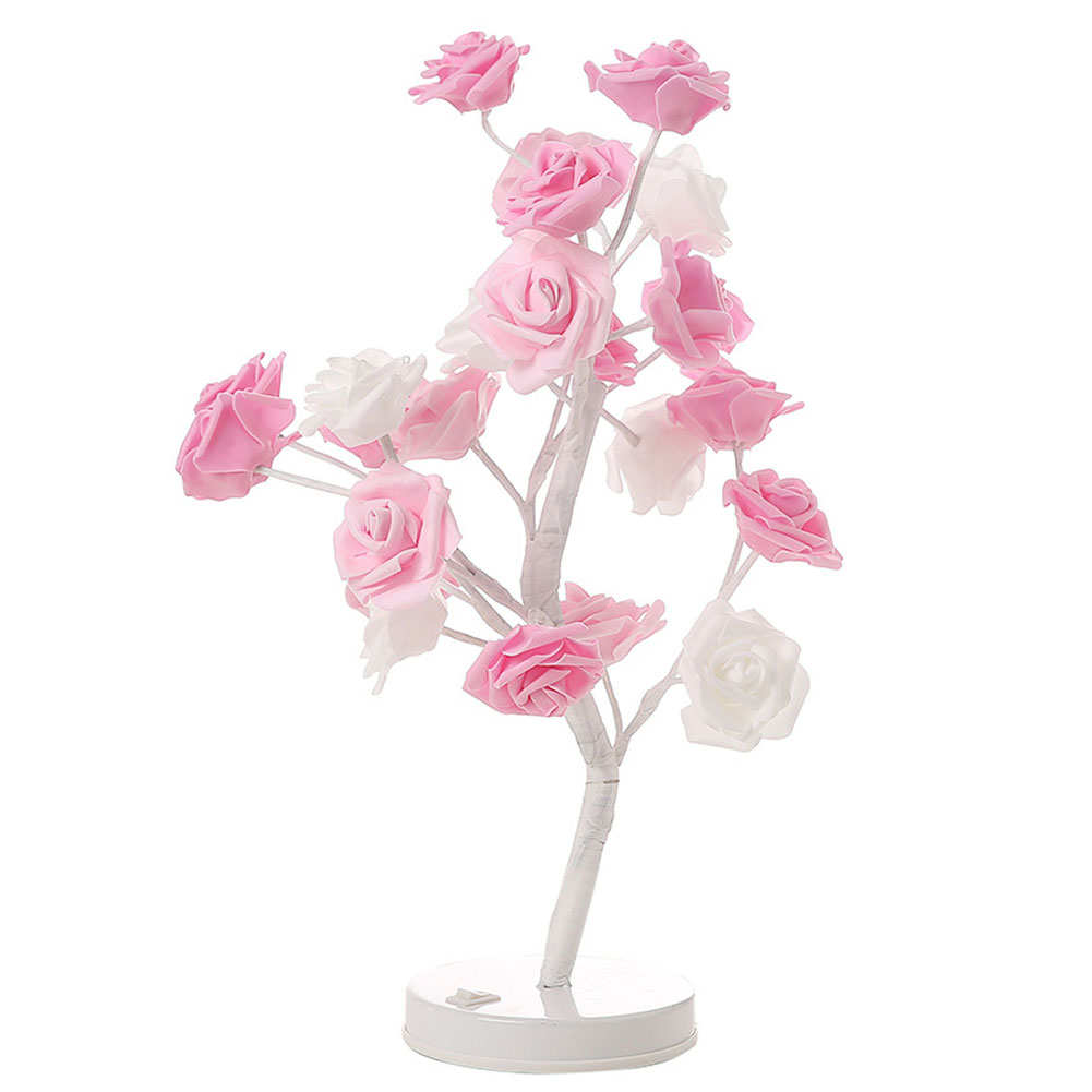 Led Lamps Lights & Lighting 2019 New Style 24led Pot Lamp Gifts Girls Wedding Stable Bedroom Artificial Rose Twig Tree Table Round Stand Night Light Home Decor Bonsai