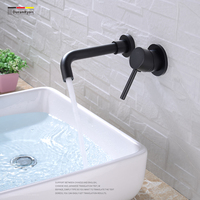 Duranryan all copper black hot and cold into wall type dark installed basin faucet basin washbasin bathroom faucet