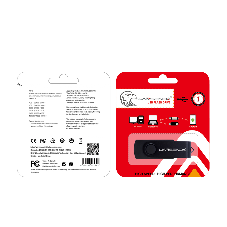 New Wansenda Swivel Usb Flash Drive High Quality Colourful Pen Flashdisk Addlink Otg Dual 32gb Black 128gb 64gb 16gb 8gb 4gb Creative Pendrive Free Package In Drives From