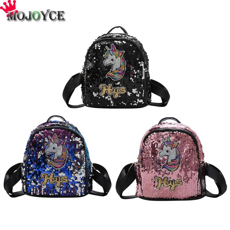 Fashion Women Sequins Mini Backpack Girl Glitter Horse Party Pattern Casual Shoulder Travel Backpack Mochila Feminina