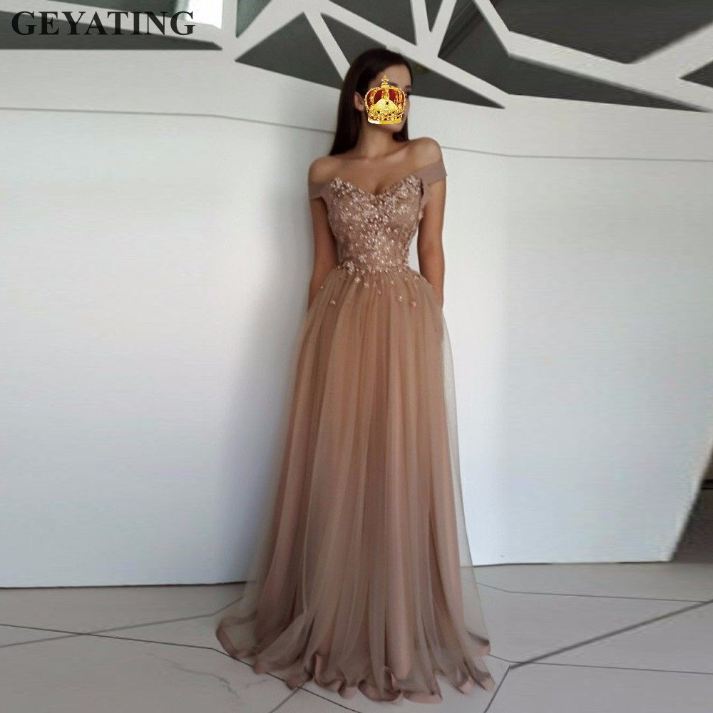Dark Champagne Tulle Floral   Evening     Dress   Long 2019 Elegant Arabic Prom   Dresses   Kaftan Dubai Off Shoulder Special Occasion   Dress