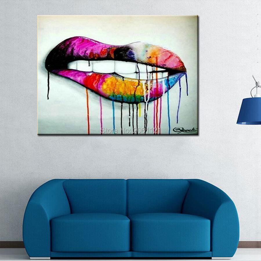 22 88 Pop Art Idée Mur Toile Peinture Abstraite Salon Décoration œuvre Peint à La Main Dame Lèvres Art Peinture Moderne Décor In Peinture Et