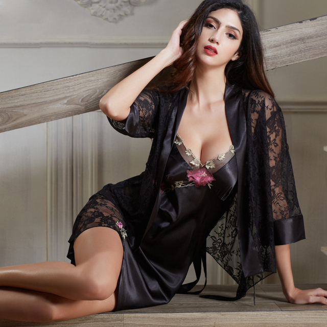 Xifenni Robe Sets Female Satin Silk Sleepwear Women Sexy Black Lace  Embroidery Two-Piece V-Neck Bathrobes Set 2019 NEW 6629 f3b478118