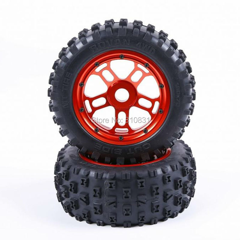 1/5 Scale Losi 5ive-T / Rovan LT / KM X2 Alloy Wheel Hub And Tyres Alloy Tires 4pcs/set losi 5ive t hd billet rear hub carriers