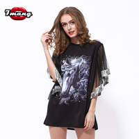 2017 New Women Party Loose Animal Horse Printing T Shirt Half Butterfly Sequins Sleeve Fashion Summer