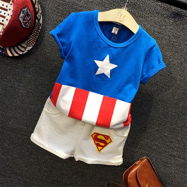 Nova moda estrela azul hero listras vermelhas de algodão primavera unisex clothing crianças ternos bonitos do bebê menino infantil de pano para 2-8 Yearsold