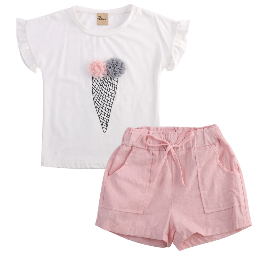 Toddler 2pcs Outfit Clothes Kids Baby Girl Clothes White Short Sleeve Ice Cream Ruffled T-shirt+Short Cotton Pants Baby Suit