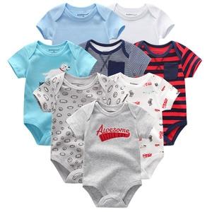 Image 3 - 8 шт./лот; Детские комбинезоны с короткими рукавами; Комбинезоны из 100% хлопка; Одежда для новорожденных; Roupas de bebe; Комбинезон и одежда для мальчиков и девочек