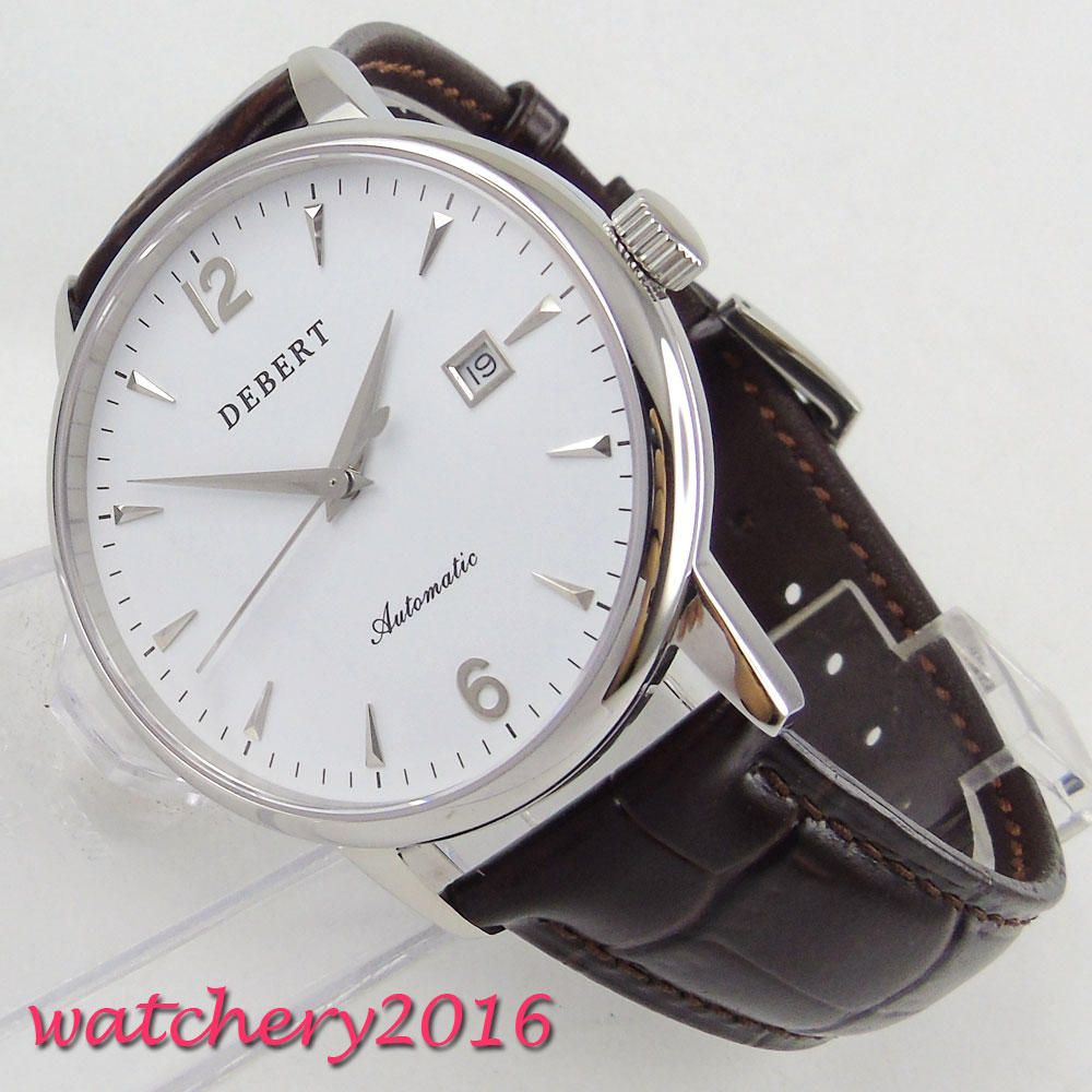 40mm Debert White Dial Date SS Case Leather 2017 Newest top brand Luxury Sapphire Crystal Miyota Automatic Mechanical Mens Watch40mm Debert White Dial Date SS Case Leather 2017 Newest top brand Luxury Sapphire Crystal Miyota Automatic Mechanical Mens Watch