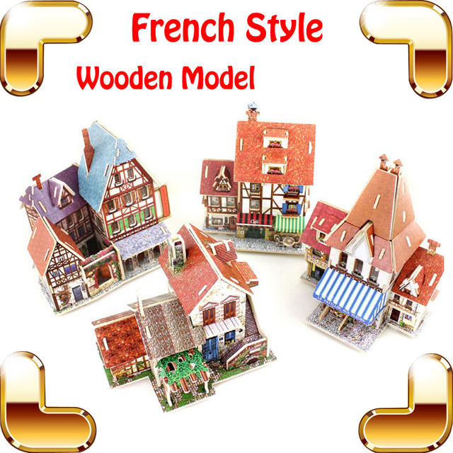 New Arrival Gift French Style 3D Puzzle Construction Building Wooden Model  Romantic Culture Learning Wood Puzzle