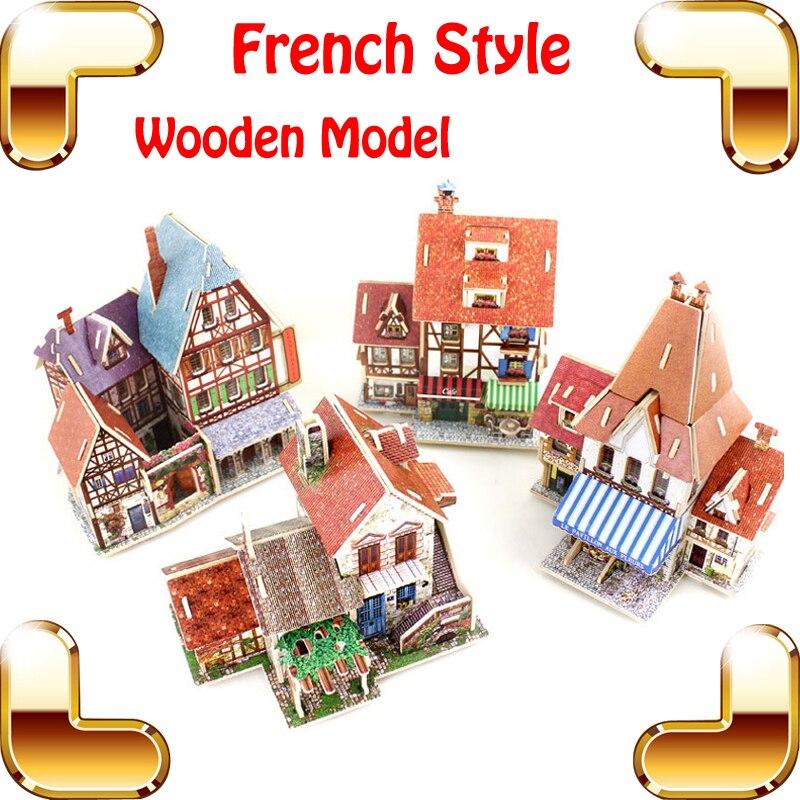 Nouvelle arrivée cadeau Style français 3D Puzzle Construction Construction en bois modèle romantique Culture d'apprentissage bois Puzzle Collection jouets