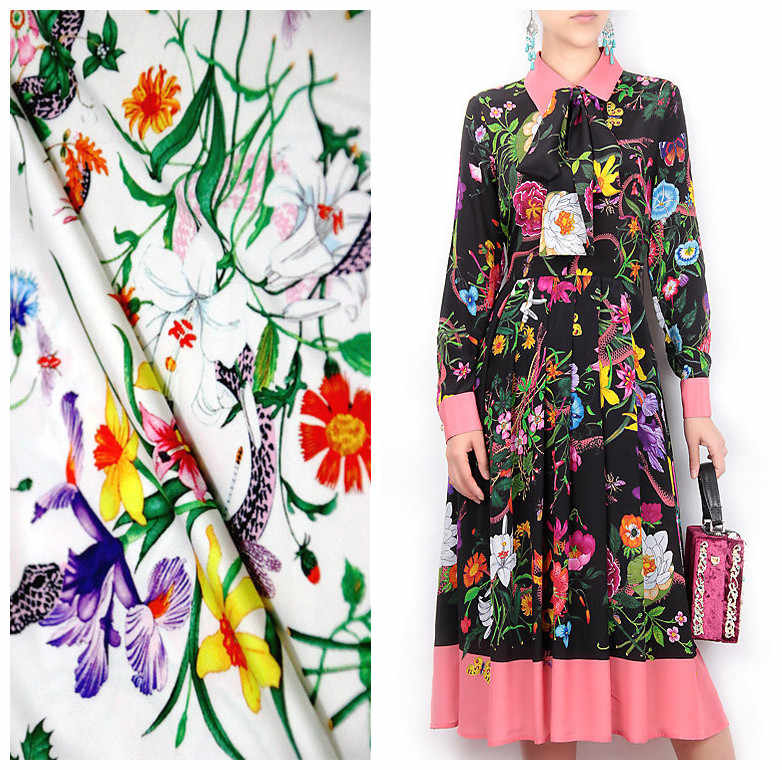 145cm baskılı kumaş moda haftası catwalk moda saten kumaş el yapımı diy elbise kumaş malzeme toptan kumaş