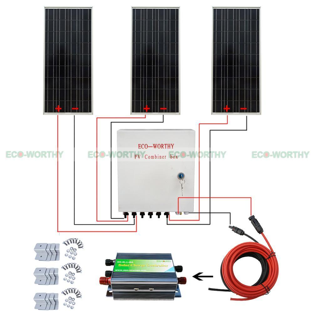3pcs 100W 12V Solar Panel 300Watt 6 String PV Combiner Box for Jeep SUV RV Boat