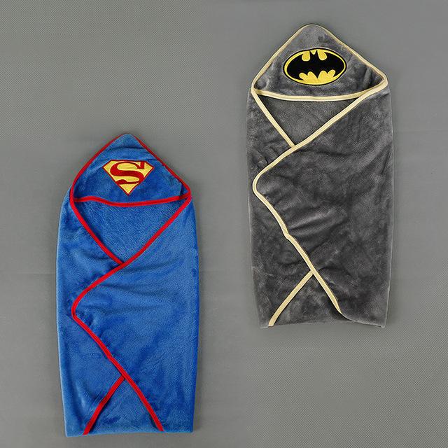 Inverno dos desenhos animados Superman Batman NewbornBaby Blanketstowel Envoltório Swaddle Panos Panos de Pelúcia Curto Macio Saco de Dormir