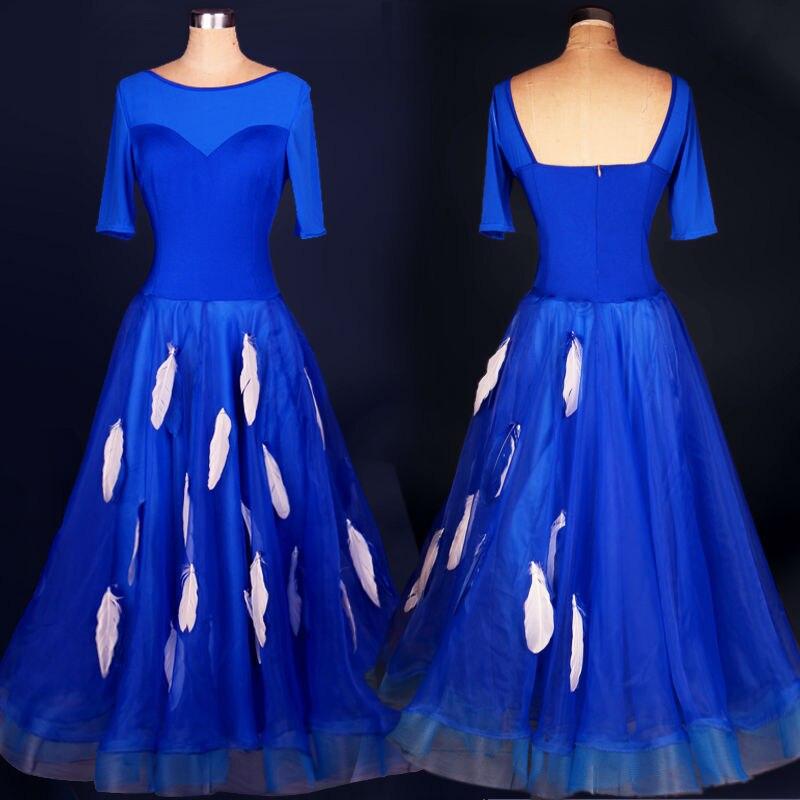 New Arrival Romantic Blue Adult Women Waltz Tango Modern One Piece Dance Competition Ballroom Dress