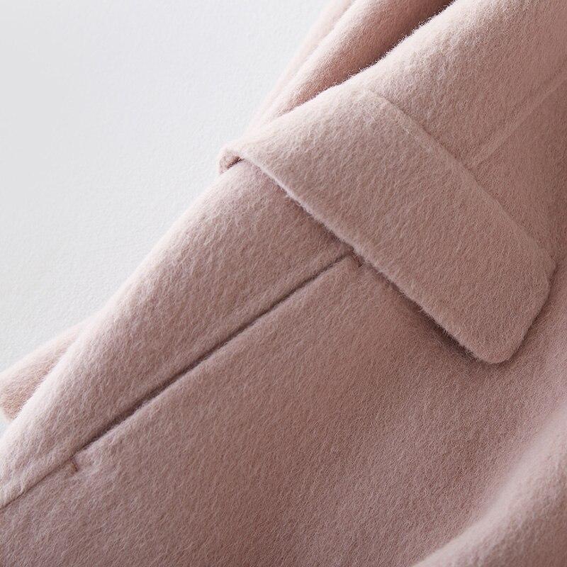 Manteaux Femmes De Rose Hiver Collor Fourrure camel Vison Coréen Pink Zt263 Tops 2018 Femelle Veste beige Réel Laine D'agneau Manteau Longue wqaff4