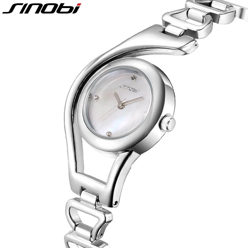Prix pour D'origine SINOBI Bracelet Montres En Or pour Femmes Cristal Diamant Top Marque Femme Montres Élégant Étanche Montre Femme 2016