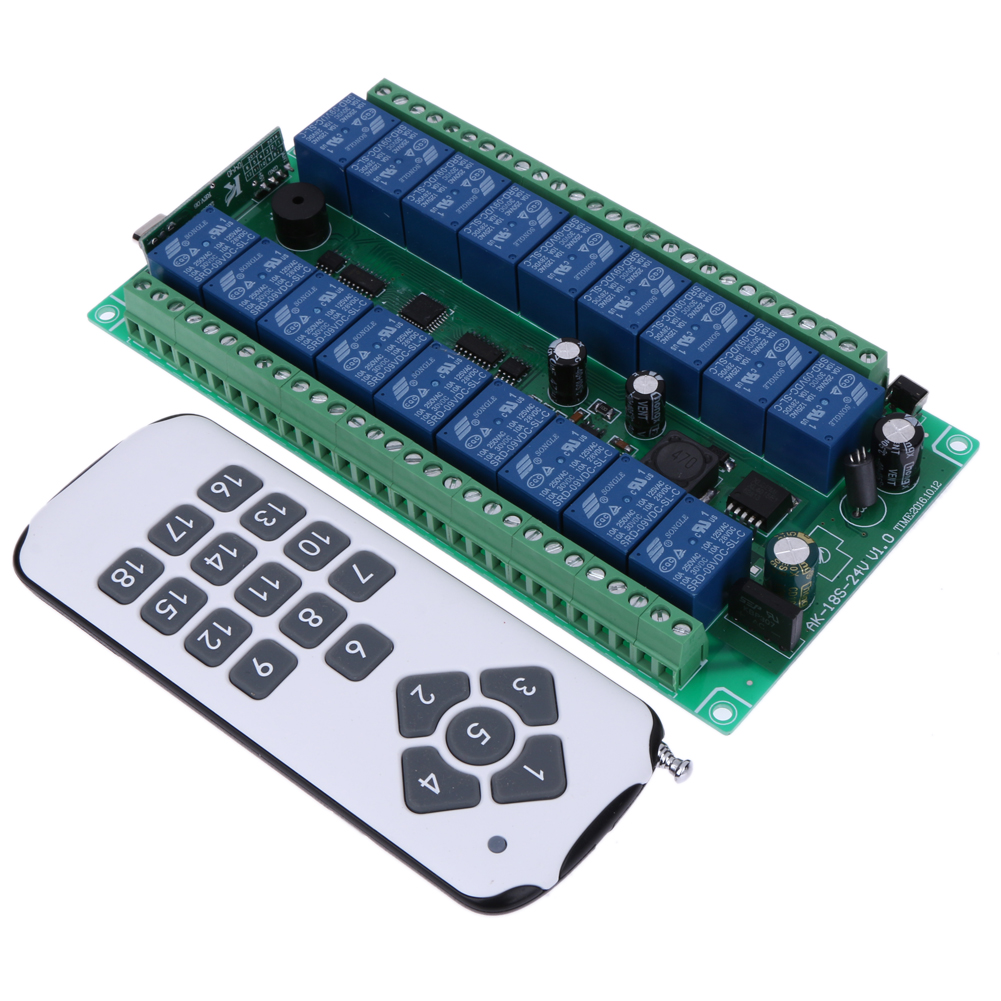 315/433MHz Wide voltage DC 12-24V learning type 18 remote control switch AK-18S-24 v1.0, RF Relay Remote Controller chunghop rm l7 multifunctional learning remote control silver