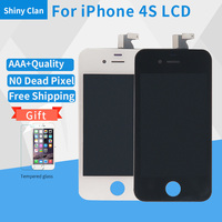 For IPhone 4S Full Complete LCD Screen Front Display Digitizer Glass Screen Assembly With Tempered Glass
