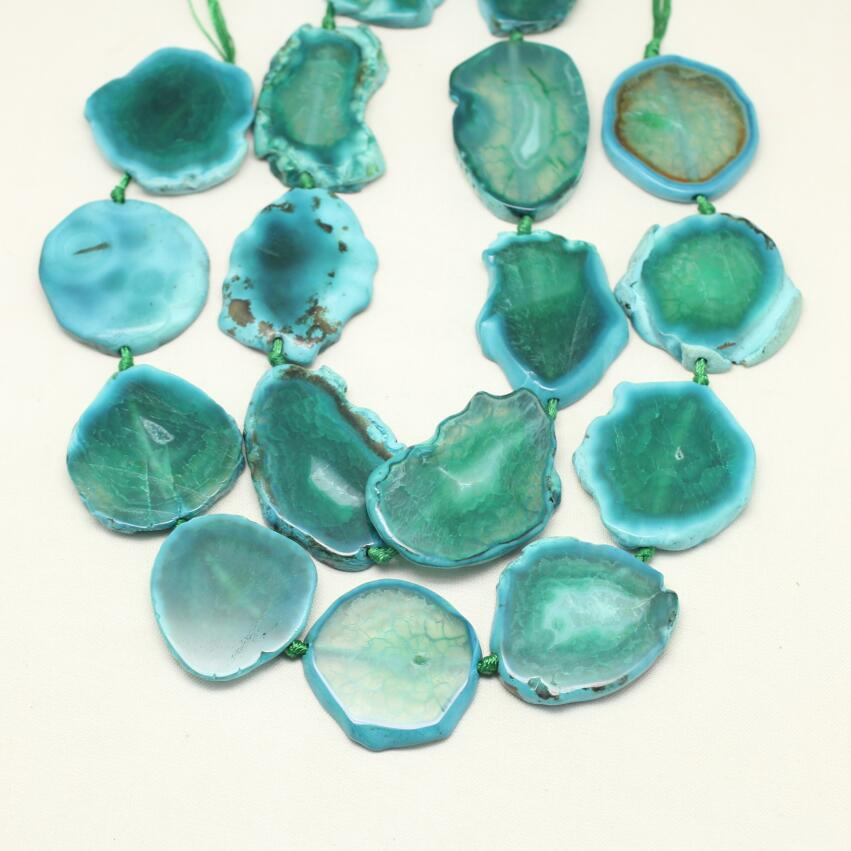 Smooth Natural Green Blue Dragon Veins Achate Slabs Slice Beads,Drilled Large Size Stone ...