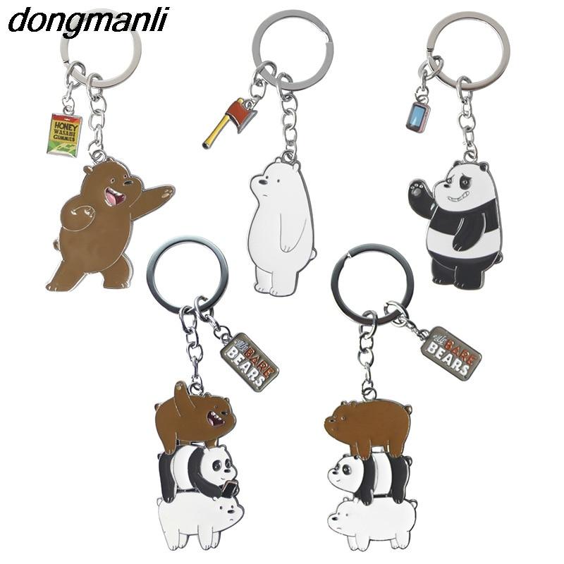 P1392 Dongmanli We Bare Bears cartoon figures toy The Three Bare Bears grizzly panda ice bear figure keychain pendant toys