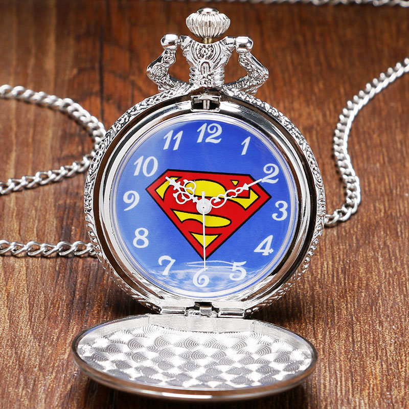 Fashion Silver & Golden Superman Pocket Watch Men Boy Watches Gift High Quality P962