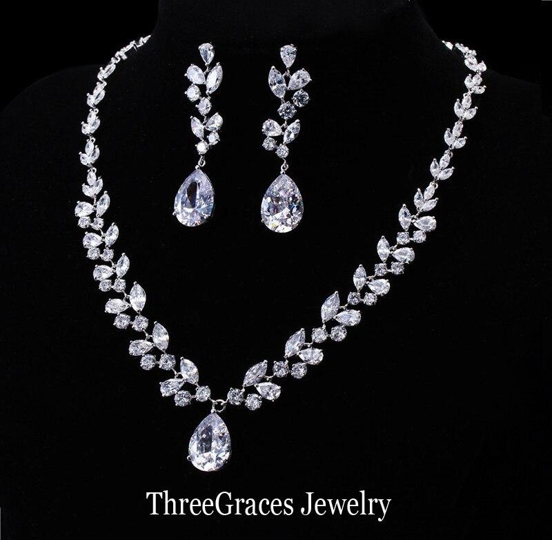 Threegraces Luxury Women Wedding Costume Jewelry White