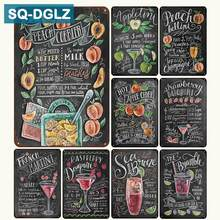 [SQ-DGLZ] 2018 New Fruits Cocktail Menu Tin Sign Bar Wall Decor Club Metal Crafts Home Decor Painting Plaques Art Poster(China)