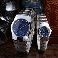 Flashon Homem Amantes LongBo Diamante Senhoras Relógios à prova d' água masculino relógio casal relógio de quartzo relógios de Pulso de Aço Inoxidável Completa