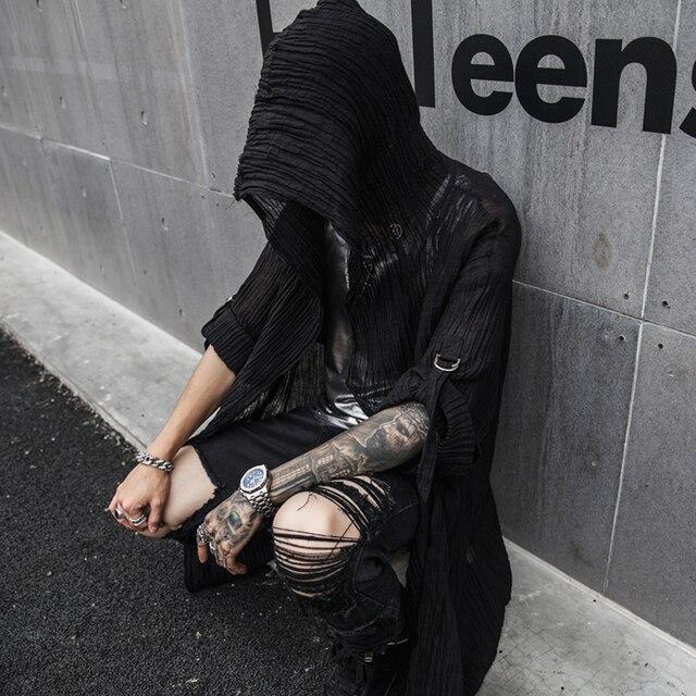 MIXCUBIC 2019 ฤดูใบไม้ผลิฤดูร้อนสไตล์อังกฤษชุด hooded ผ้าลินินเสื้อผู้ชายสีดำยาวส่วนสบายๆหลวม hooded เสื้อสำหรับชาย