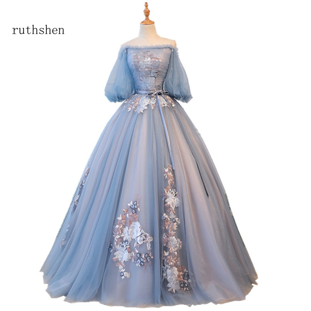 Ruthshen Latest Sexy Boat Neck Prom Dresses Off Shoulder Evening Gowns With Floor Length Elegant A Line Formal Party Dress 2018
