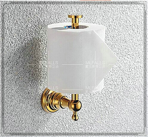 Gold finish wall mounted upright roll toilet paper holder tissue holder double brush in paper - Gold toilet paper holder stand ...