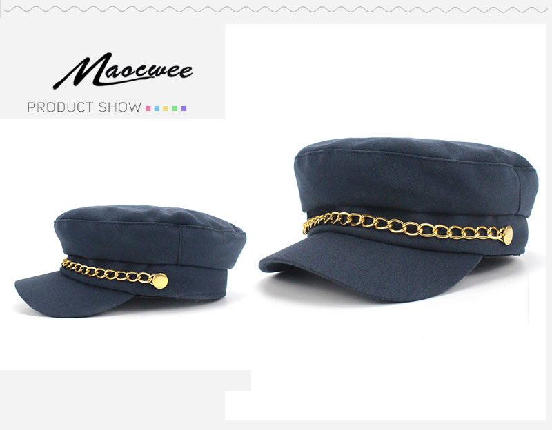 7d1cd846 Military Hat Women Army Hats Caps of Sailor Cap Marine Gorro Marinero  Militar Navy Hat Leather Visor Flat top Iron Chains Cap