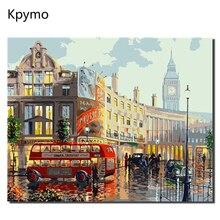 DIY PBN Paris rua Arcylic Pintura Por Números Sobre Tela Emoldurado Retratos Da Parede Arte Para Sala de estar Decoração de Casa Kpymo VA0394