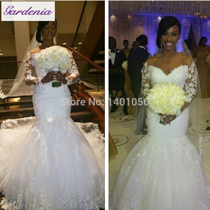 Real Customer Show Long Sleeve Satin Wedding Dress Mermaid Bridal Gown For Black Women Vestidos Casamento Formal Off Shoulder In Dresses From