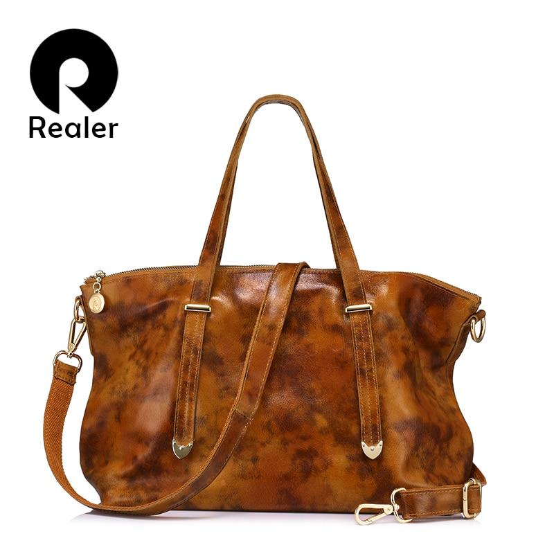 REALER Brand Genuine Leather Tote Bag Fashion Women Handbag Female Large Shoulder Crossbody Bags High Quality Solid Handbag