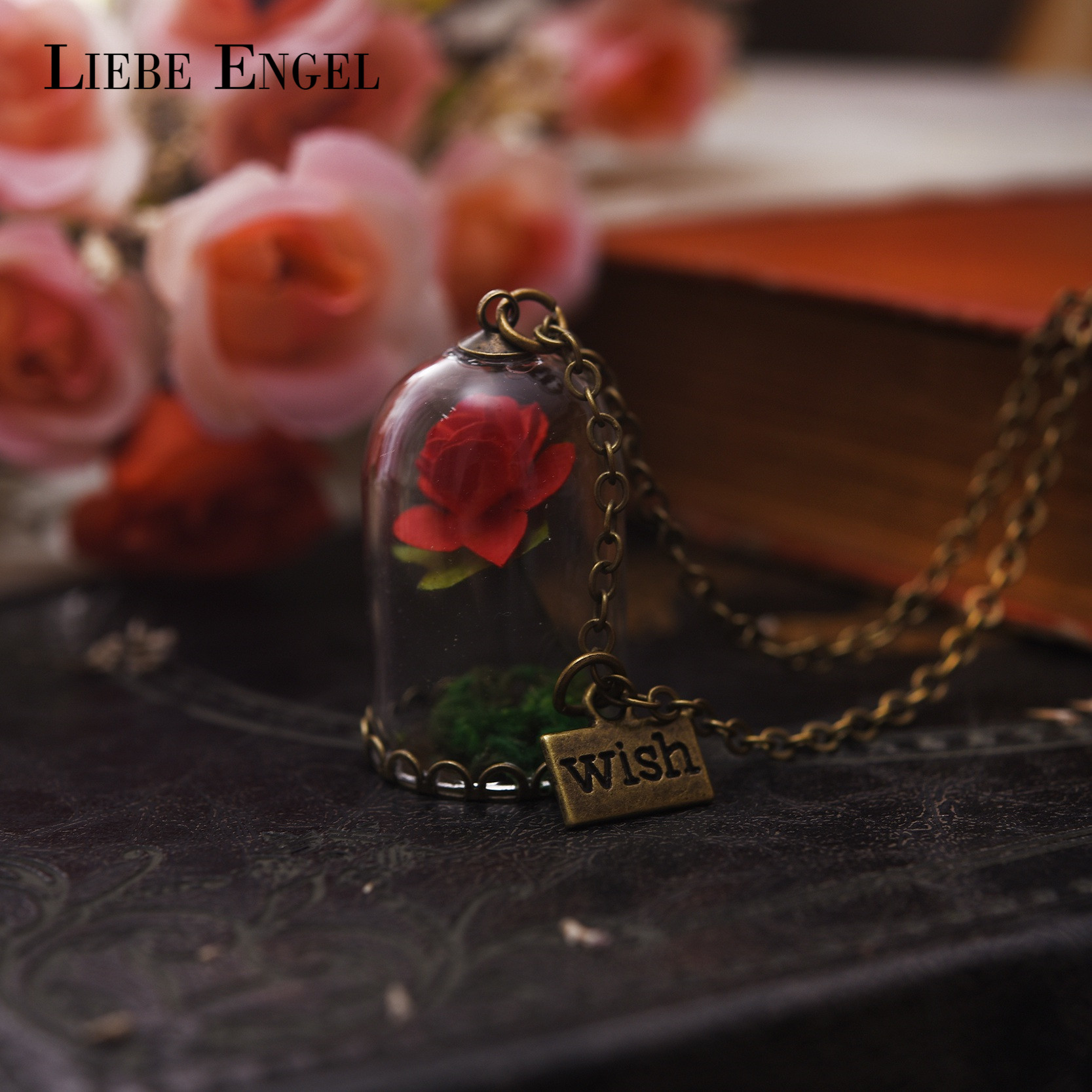 LIEBE ENGEL Maxi Choker Wish Glass Bottle Dried Flower Pendant Necklace Vintage Chain Women Fashion Jewelry Beauty And The Beast