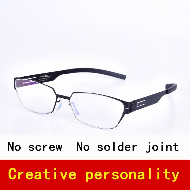 Lehké polygonové bezšroubové nerezové brýle dámské brýle na dioptrické brýle na dioptrické brýle