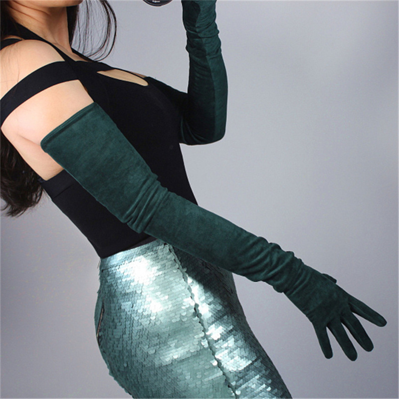 Suede Gloves Extra Long 70cm Matte Sanding Suede Simulation Leather Female Models Dark Green Dark Green 5-JPSL70